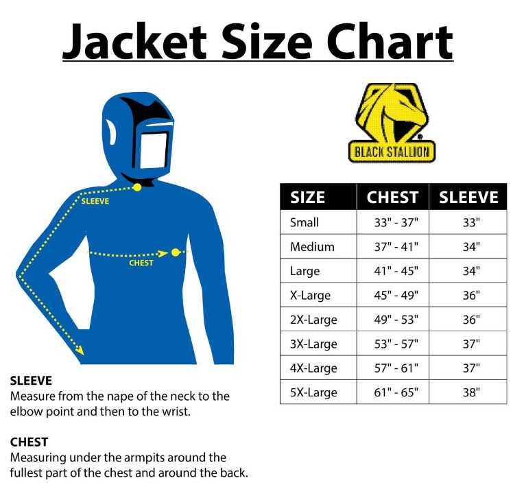 Sizes of jackets