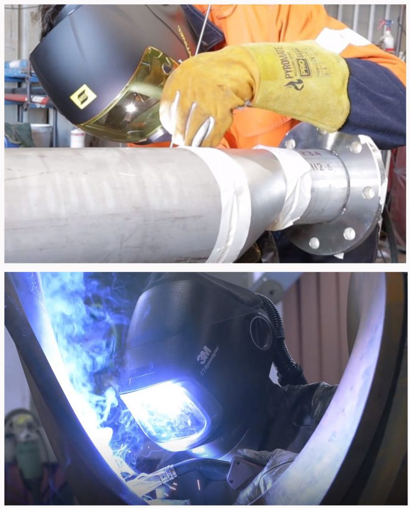 Stick, MIG, TIG grinding welding operations